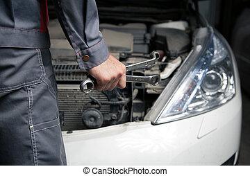 bil, mechanic., bil reparera, service.