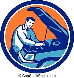 bil mekaniker, bilen reparerar, cirkel, retro