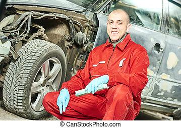 bil mekaniker, hos, bil, kropp, reparera, arbete