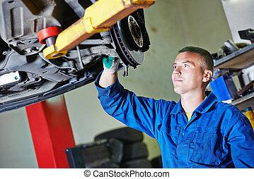 bil mekaniker, hos, bil, upphängning, reparation