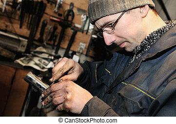 bil mekaniker, hos, reparera, arbete