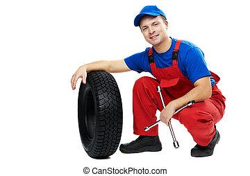bil, mekaniker, med, bil, däck, och, skruvnyckel
