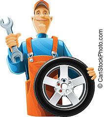 bil mekaniker, med, hjul