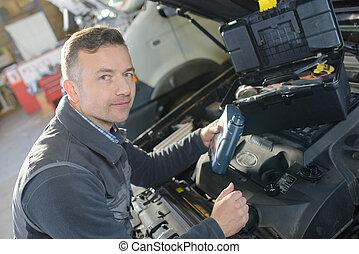 bil mekaniker, repairman, undersöka, bil, bil motor