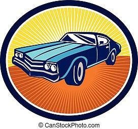 bil, muskel, retro, baksida, amerikan, årgång