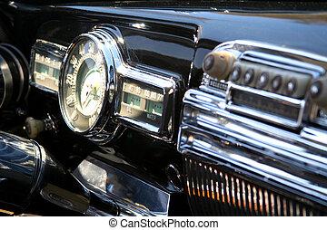 bil, närbild, årgång, interior.