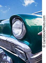 bil, närbild, 1950's, synhåll, främre del