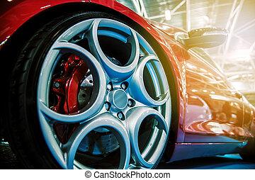bil, nymodig, sport, röd