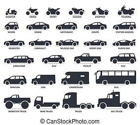 bil, och, motorcykel, typ, ikonen, set., titel, modellen, moto, och, bil