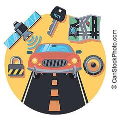 bil, och, personal, cirkel, ikon, med, skugga