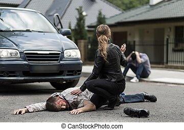 bil olycksfall, offer