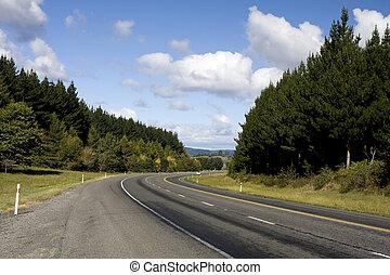 bil, på, lantlig motorväg