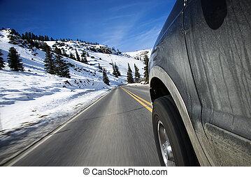bil, på, väg, in, winter.