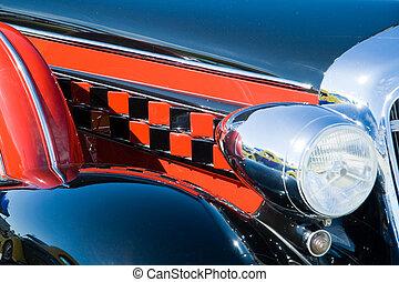 bil, pannlampa, motor, årgång