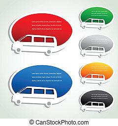 bil, pekare, -, leverans, vektor, transport