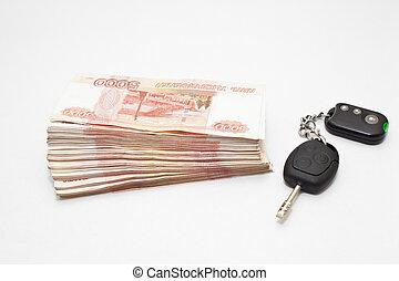 bil, pengar, klar, nyckel, kontanter
