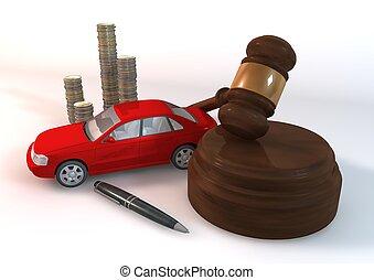 bil, perspektiv, röd, auktion, aktiva