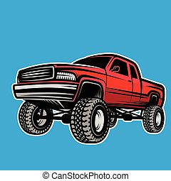 bil, pickupen, off-road, lastbil, 4x4