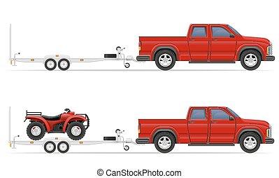 bil, pickupen, vektor, släpvagn, illustration