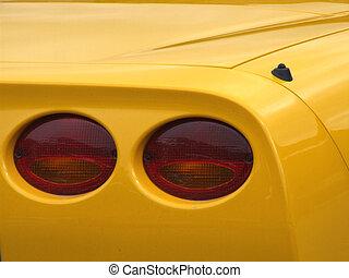 bil, prålig, gul