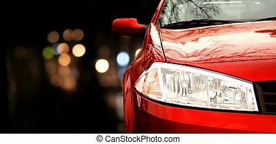 bil, röd
