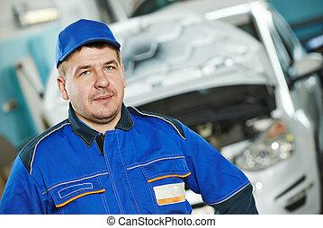 bil, repairman, bil mekaniker