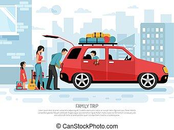 bil, resa, familj, affisch