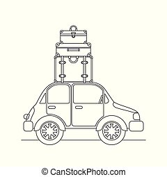 bil, resa, sätta, suitcases