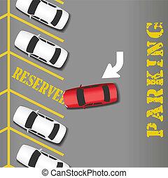bil, reserverat, affär, framgång, parkering