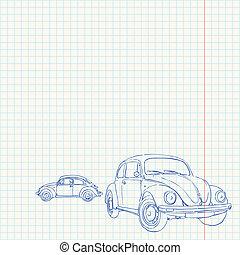 bil, retro, teckning