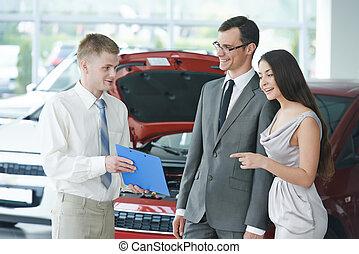 bil, säljande, eller, bil uthyrning
