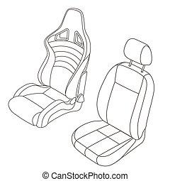 bil, sätta, isolerat, säte