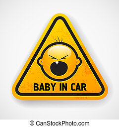 bil, screamong, dekal, baby`s, ansikte
