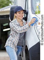 bil service, personal, rensning, bil
