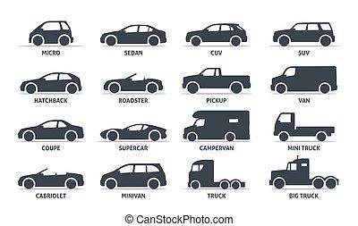bil, silhuett, vektor, automobile., kropp, objekt, sätta, shadow., isolerat, svart, typ, vit fond, ikonen, nät, illustration, varianten, modell