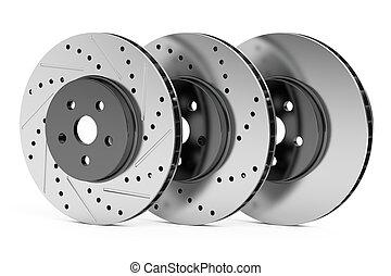 bil, skivor, bromsa, rotorer, 3, framförande