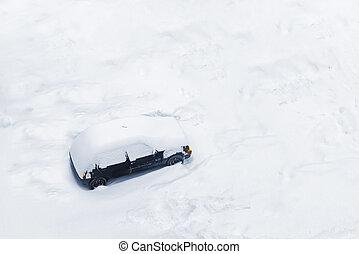bil, snärjet, in, djup, snö