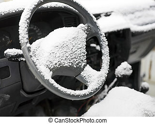 bil, snö, driva, styrning