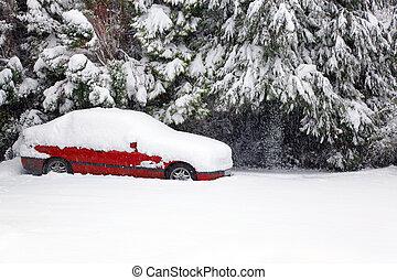 bil, snö, röd, höjande