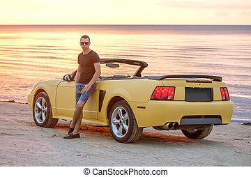 bil, solnedgång, baksida, toppen, man