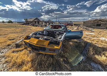 bil, stad, spöke, övergiven