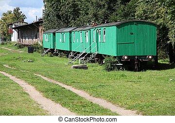 bil, tåg, gammal, hemmen