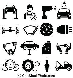 bil, underhåll, och, reparera