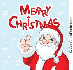 bil, uppe, claus, jultomten, hälsning, tummar