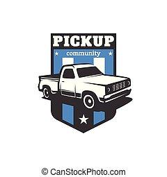 bil, uppe, vektor, lastbil, mall, hacka, logo