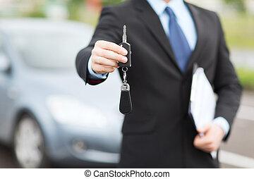 bil, utanför, nyckel, man