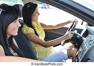 bil, vänner, två, drivande