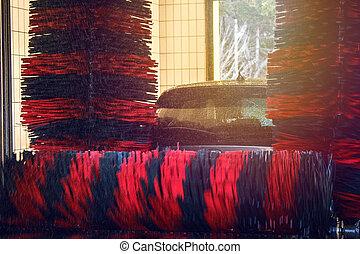 bil vasken, bil, automatisk, borsta, tvätta, skum, vatten