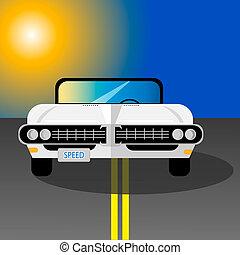 bil, vit, retro, väg