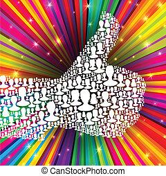 bilagt, stråler, eps10, tommelfinger, farverig, folk, mange,...